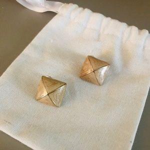 🎉 Geometric nude square earrings